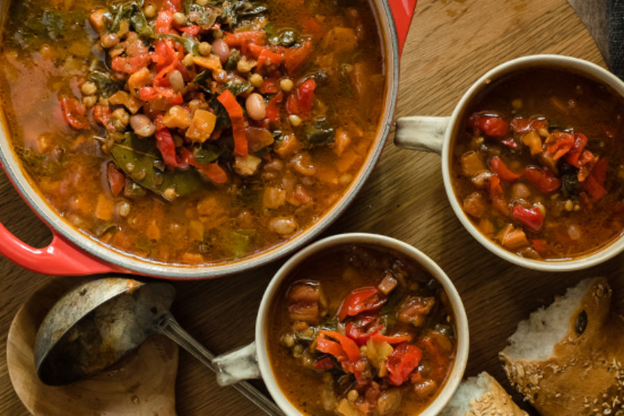 Hearty Piquanté Pepper Veggie Lentil Soup Recipe (Vegetarian)