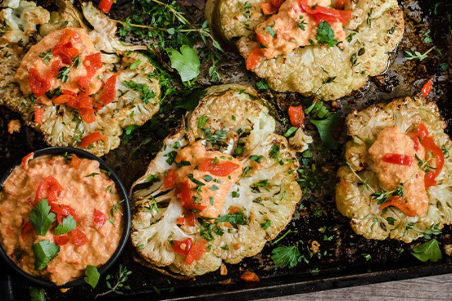 "Herby Roasted Cauliflower ""Steaks"" Recipe with Sweet Piquanté Pepper Pesto (Vegan)"