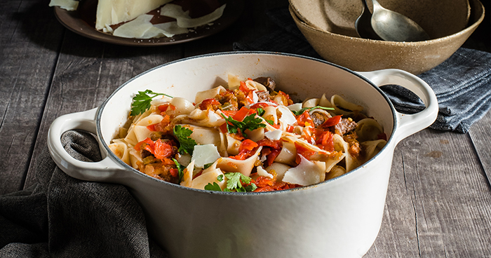 Slow-Cooked Beef & Sweet Piquanté Pepper Ragu Pasta Recipe