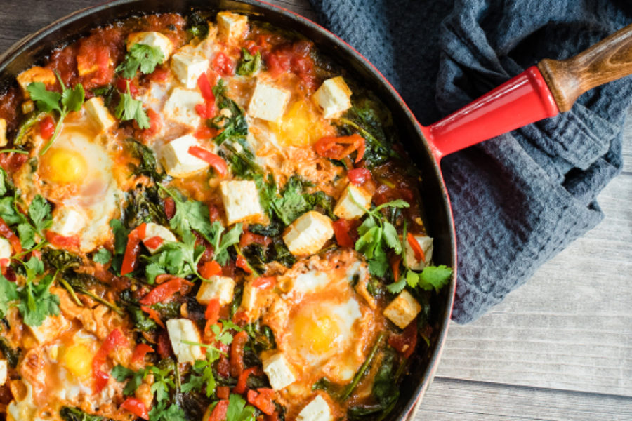 Sweet Piquanté Pepper Shakshuka with Spinach & Feta Recipe