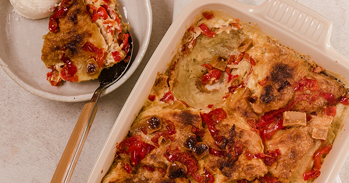 Fudgy Bread Pudding with PEPPADEW® Sweet Piquanté Peppers Recipe